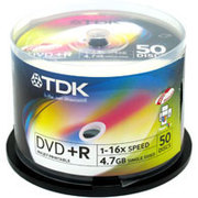 TDK 可打印 DVD+R 16速10片装(DVD+R47PWWCB10AD)