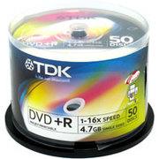 TDK 可打印 DVD+R 16速50片装(DVD+R47PWWCB50AD)