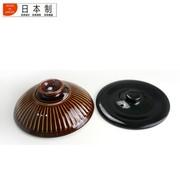 其他 日本原产陶锅 日本正品万古烧菊花土锅 飴釉5合双盖汤锅 炖锅(直径20.4mm)