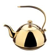 仁品 【货到付款】/不锈钢茶壶 冷水壶 咖啡壶 带网隔 时尚泡茶壶 高档茶壶 可上电磁炉弯手 1.0L原色