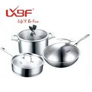其他 正品龙兴宝富三件套不锈钢套锅 厨房套装锅 烹饪锅具套装LX-LB011