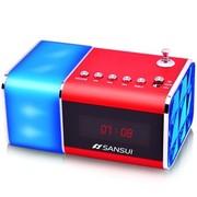 山水 E11 炫彩灯光插卡小音箱迷你收音机音响 红色