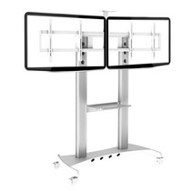 NB AVT1800-60-2A(46-60寸)豪华液晶电视双屏拼接移动架视频会议落地推车 银色产品图片主图