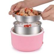 十度良品 SD-933S蒸煮电热饭盒 双层不锈钢内胆插电加热保温饭盒 1.2L 粉红色
