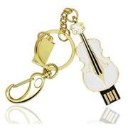 权尚 时尚水晶小提琴 16G 白色 创意 个性刻字 企业/个人定制logo