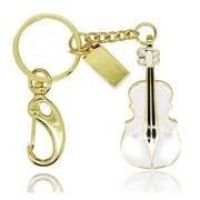 权尚 时尚水晶小提琴 创意礼品u盘 32G白色