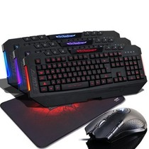 黑爵 魔域键盘 有线游戏键盘笔记本外接键盘usb台式三色背光键盘 台式电脑带光 黑暗骑士三色背光键盘产品图片主图