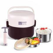 十度良品 SD-921蒸煮电热饭盒 双层不锈钢内胆真空保鲜插电加热保温饭盒 1.3L 咖啡色