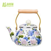 青青乐福 特惠出口珐琅瓷韩国花冷水壶凉茶壶 搪瓷烧水壶茶壶专柜正品蓝花