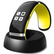 智蝶科技 OLED电容触摸屏蓝牙智能手环/智能手镯 无辐射手机伴侣 L12 (黄色+黑色)