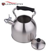 HUANXIPO 不锈钢小水壶烧水壶煤气电磁炉通用鸣笛水壶响水壶3l 黑色