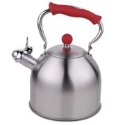 HUANXIPO 德国工艺加厚304不锈钢烧水壶3L升复底煮水壶鸣音壶燃气电磁炉通用 红手柄 3升水壶