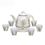 青青乐福 搪瓷1.0L电水壶水杯套装 写意水杉 出口珐琅瓷电水壶送礼套装