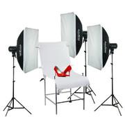 神牛 250W 摄影灯摄影棚摄影器材影室闪光灯三灯套装 柔光箱拍摄台人像商品拍摄影像设备