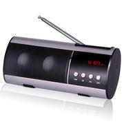 山水 SANSUI/迷你音响 收音机 老人MP3播放器 外放低音炮小音箱 便携式插卡音箱 银色