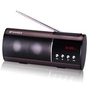 山水 SANSUI/迷你音响 收音机 老人MP3播放器 外放低音炮小音箱 便携式插卡音箱 褐色