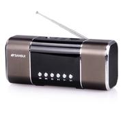 山水 SANSUI/迷你音响 插卡音箱 便携式低音炮收音机 带mp3音乐播放器户外放小音箱 褐色