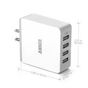 Anker USB多口充通用电器 4口旅充 适用于苹果/三星/小米/平板 黑色-36W 7.2A充电器