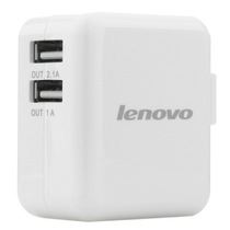 联想 A12 原装USB智能充电器 1A与2.1A双USB接口 手机平板电脑通用 电源适配器 白色产品图片主图