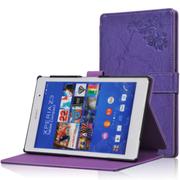 虎克 索尼Xperia Z3 Tablet Compact皮套 SGP621 8寸平板电脑保护套 雕花纹-紫罗兰
