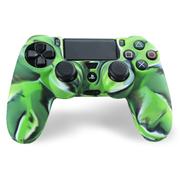 其他 利乐普 PS4 手柄硅胶防滑保护软套  手柄保护套+2颗手柄摇杆防滑帽 3合1套装 迷绿