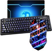 新盟 键盘 掌握者鼠标 有线套装 游戏键鼠套装 LOL CF游戏键鼠套 游戏背光键盘鼠标套装 黑鼠+K7背光送垫