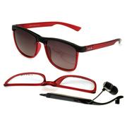 优胜仕 USAMS智能蓝牙眼镜头戴式影院耳机偏光太阳镜近视 可配近视 酒红色/浅灰色片