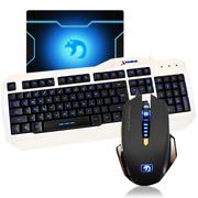 新盟 曼巴狂蛇7D宏定义鼠标 有线键盘套装 游戏键鼠套装 LOL CF游戏键鼠套 狂蛇黑+K18三色发光+垫