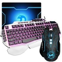 其他 蝙蝠骑士T20黑/白键盘鼠标套装 蝙蝠骑士六色呼吸灯游戏鼠标套装 有线 升级版 T3200炼狱+T20白色键盘产品图片主图
