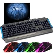 新盟 掌握者鬼影风格鼠标套装,游戏背光键盘鼠标套装USB有线游戏发光键鼠套装 LOL CF V22+K22机械手感送鼠标垫