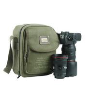 吉尼佛 休闲帆布包PE-11 D700070D单肩摄影包 单反相机包 军绿色 军绿色
