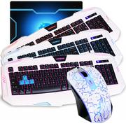 新盟 鼠标 键盘套装 游戏键鼠套装 LOL  CF游戏键鼠套 鼠标白+朗森三色键盘+垫