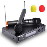 纽曼  无线麦克风 双麦搭配 KTV舞台无线话筒手麦LED液晶屏显示 黑色
