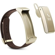 华为 手环B2 (蓝牙耳机与智能手环完美结合+金属机身+触控屏幕+真皮表带) 商务版 日晖金