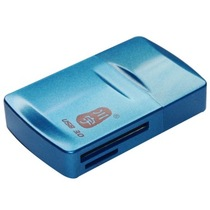 川宇 C385 USB3.0 读卡器 读卡器3.0 三合一读卡器  蓝色金属漆产品图片主图