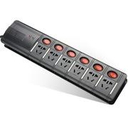 突破 X系列6位专业防雷防电涌拖线板/黑色3米分控/TZ-C0726K6-30/插座/插线板/插排
