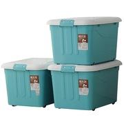 禧天龙 环保抗压滑轮塑料收纳箱 大号带盖 储物整理箱 超值3个装(天蓝色64L)6063