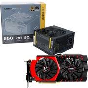 安钛克 额定650W EAG650 金牌电源+微星(MSI)GTX 970 GAMING 4G 1140 显卡