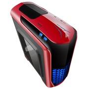 金河田 超越 荣耀版 激情红机箱 (U3/SSD/背线/风扇控制/读卡器/侧透/标配2个LED风扇)