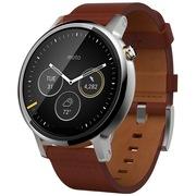 摩托罗拉 新一代 Moto 360智能手表 (46毫米高规格不锈钢 Horween真皮 干邑色时尚经典男款)