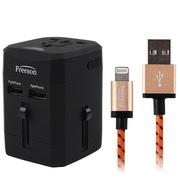 Freeson ITC-032 多功能转换插头USB旅行充电器+MFI认证Lightning USB数据线套装 黑色