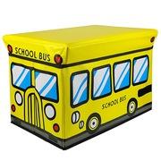 趣行 卡通汽车折叠可座置物箱 户外休闲凳 车用后备箱储物整理箱 25升 黄色