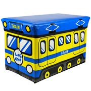 趣行 卡通汽车折叠可座置物箱 大号户外休闲凳 车用后备箱储物整理箱 46升 蓝色
