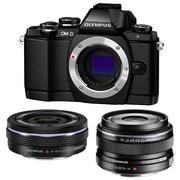 奥林巴斯 E-M10(1442电动+17mm镜头) 微型单电双头套机 黑色【文艺青年套装】
