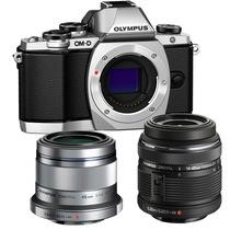 奥林巴斯 E-M10(1442mm手动+45mm镜头)微型单电双头套机 银色【酷炫亲子套装】产品图片主图