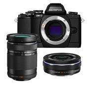 奥林巴斯  OM-D E-M10 微型单电远摄双头套机(14-42mm电动镜头+40-150mm远摄镜头) 黑色