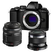 奥林巴斯 E-M10(1442mm手动+45mm镜头)微型单电双头套机 黑色【酷炫亲子套装】