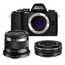 奥林巴斯  OM-D E-M10 微型单电人像双头套机(14-42mm电动镜头+45mmF/1.8人像镜头) 黑色产品图片主图