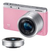 三星  NX mini 微型单电双镜头套装(9mm )/(9mm-27mm) 粉色 内附16G卡