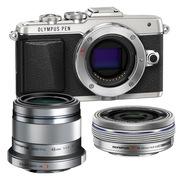 奥林巴斯 E-PL7(1442mm电动+45mm镜头)微型单电双头套机 银色【美拍亲子套装】